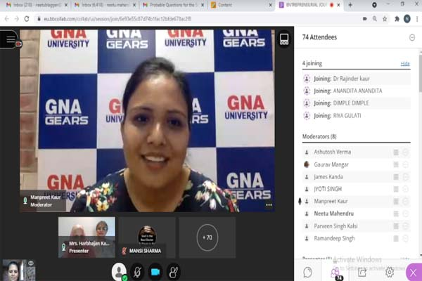 You are currently viewing GNA University Organised a Webinar on Entrepreneurial Journey: A Dream to Reality
