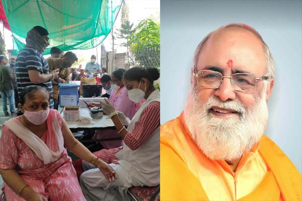 भगवान श्री लक्ष्मी नारायण धाम में लगा कोविशील्ड वैक्सीनेशन कैंप, 150 लोगों ने लगवाईडोज